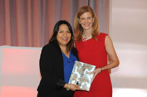 General Manager, Claudia Ludlow (left), accepted the award from the AH&LA; President and CEO, Katherine Lugar (right).