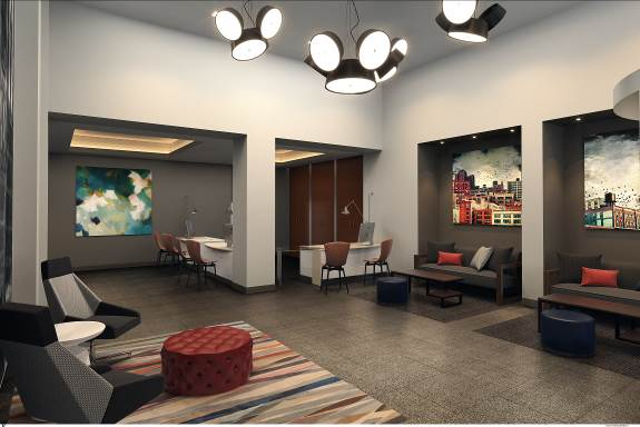Chicago's Kinzie Hotel Lobby Rendering