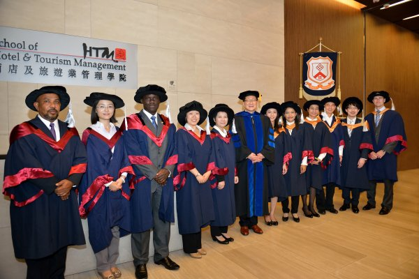 Professor Kaye Chon (sixth from left) with doctoral degree graduates including Dr Ahmed Salih (first from left), Dr Vera Shanshan Lin (second from left), Dr Jimmy Chiang (second from right) and Dr James Mabey (first from right)
